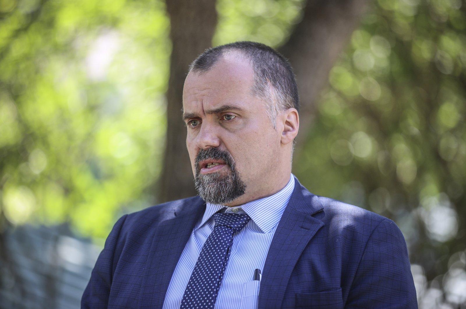 Poland's ambassador to Ankara Jakub Kumoch during an interview with Anadolu Agency in Ankara, Turkey, July 13, 2021. (AA Photo)