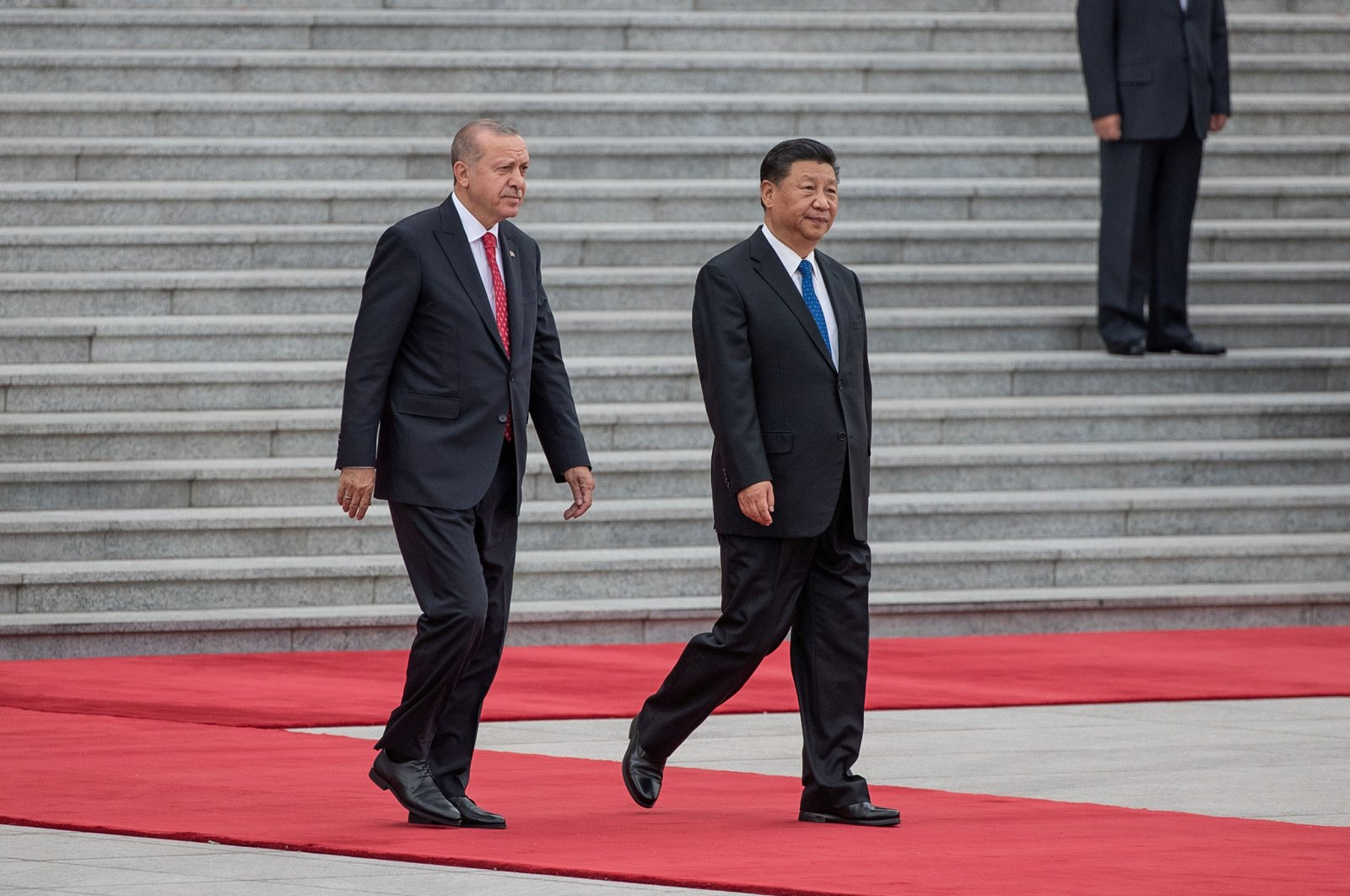 President Recep Tayyip Erdoğan and China's President Xi Jinping attend a welcome ceremony at the Great Hall of the People in Beijing, China, July 2, 2019. (Reuters Photo)