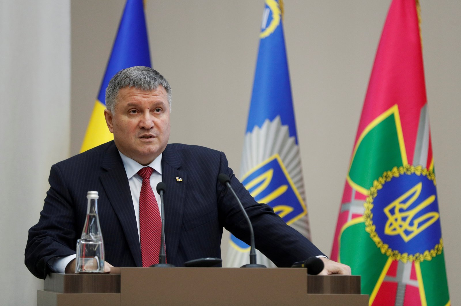 Ukrainian Interior Minister Arsen Avakov speaks during a news conference about the investigation of the killing of journalist Pavel Sheremet in 2016, Kyiv, Ukraine, Dec.12, 2019. (Reuters Photo)