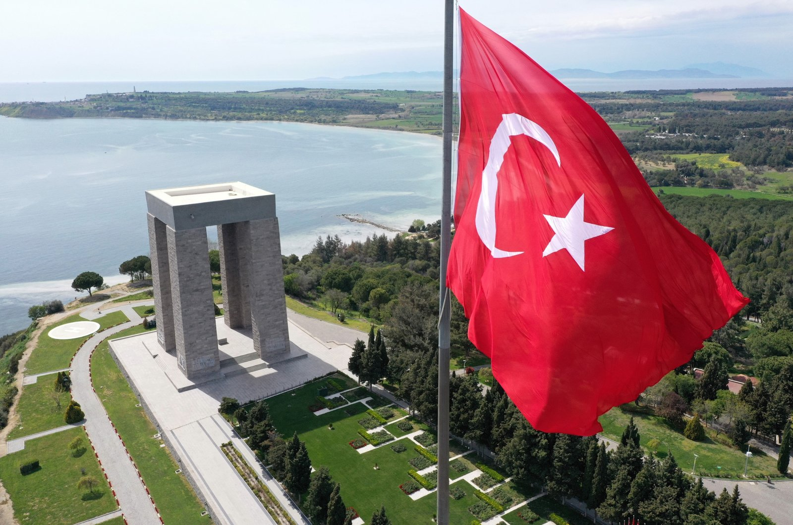 The monument in Çanakkale in memory of fallen soldiers, Turkey, March 2021. (AA Photo)