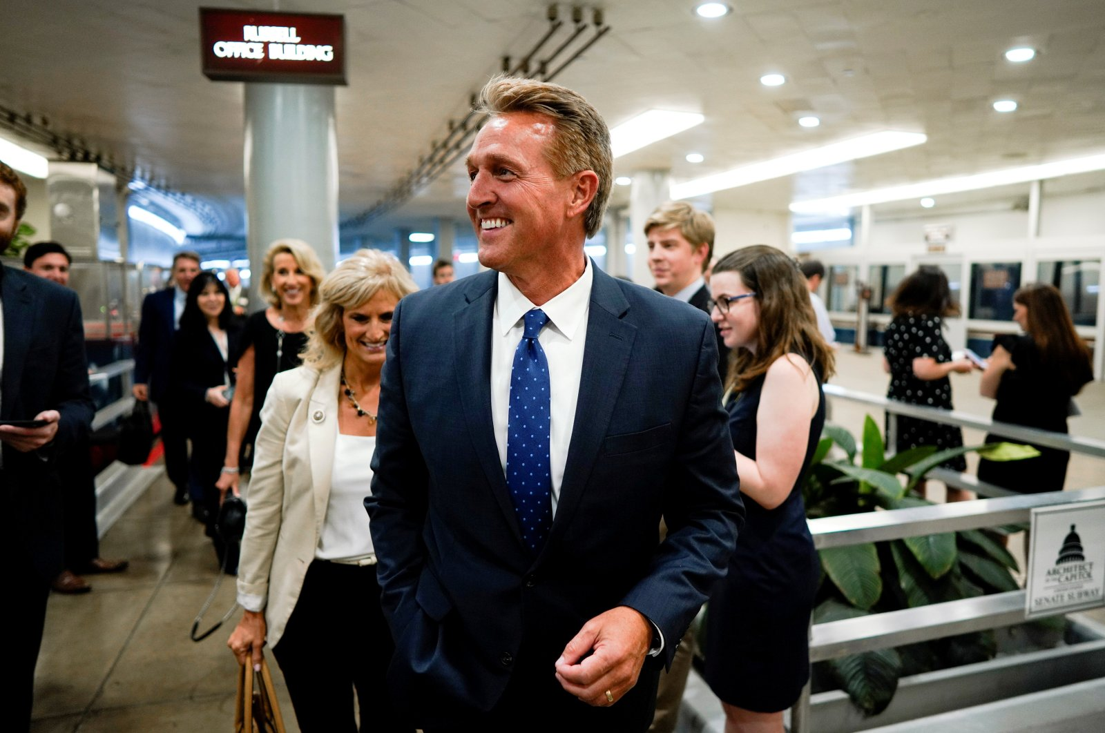 Former Sen. Jeff Flake speaks with reporters ahead of the weekly policy luncheons on Capitol Hill in Washington, U.S., May 7, 2019. (Reuters Photo)
