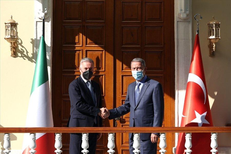 Defense Minister Hulusi Akar and his Italian counterpart Lorenzo Guerini meet in Istanbul, Turkey, July 13, 2021 (DHA Photo)