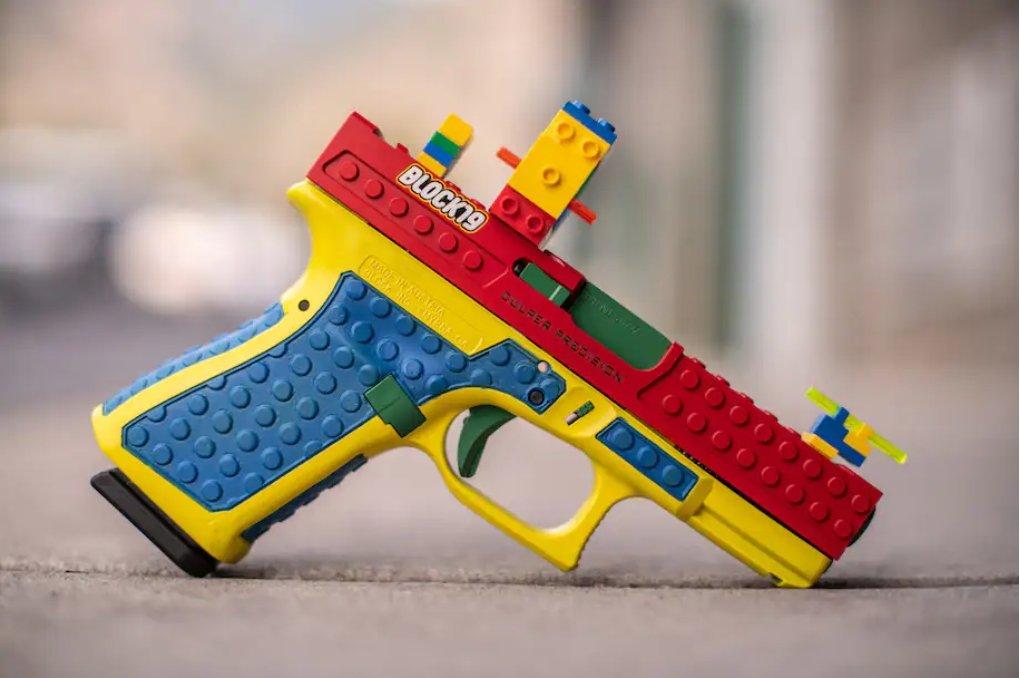 "A Glock handgun customized with a ""Lego"" kit produced by Culper Precision. (Culper Precision)"