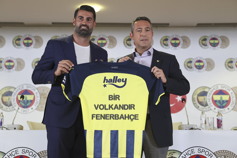 Longtime Fenerbahçe goalkeeper-turned assistant coach Volkan Demirel (L) with club President Ali Koç (sağda) after a press conference at Ülker Stadium, Istanbul, Turkey, July 14, 2021. (AA Photo)