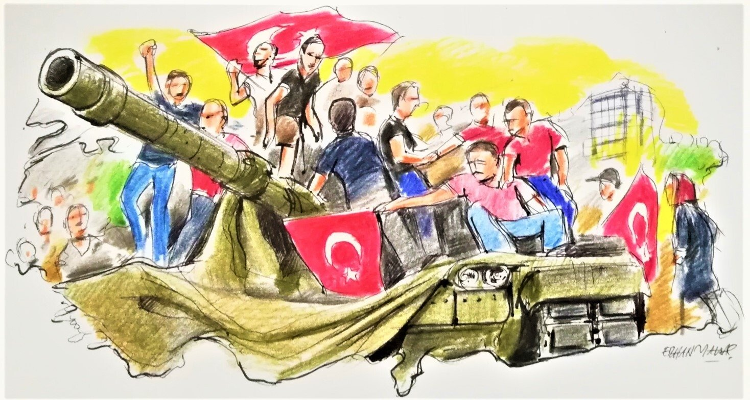 Illustration by Erhan Yalvaç shows the Turkish people resisting against coup plotters on July 15, 2016, to defend their country and democracy.