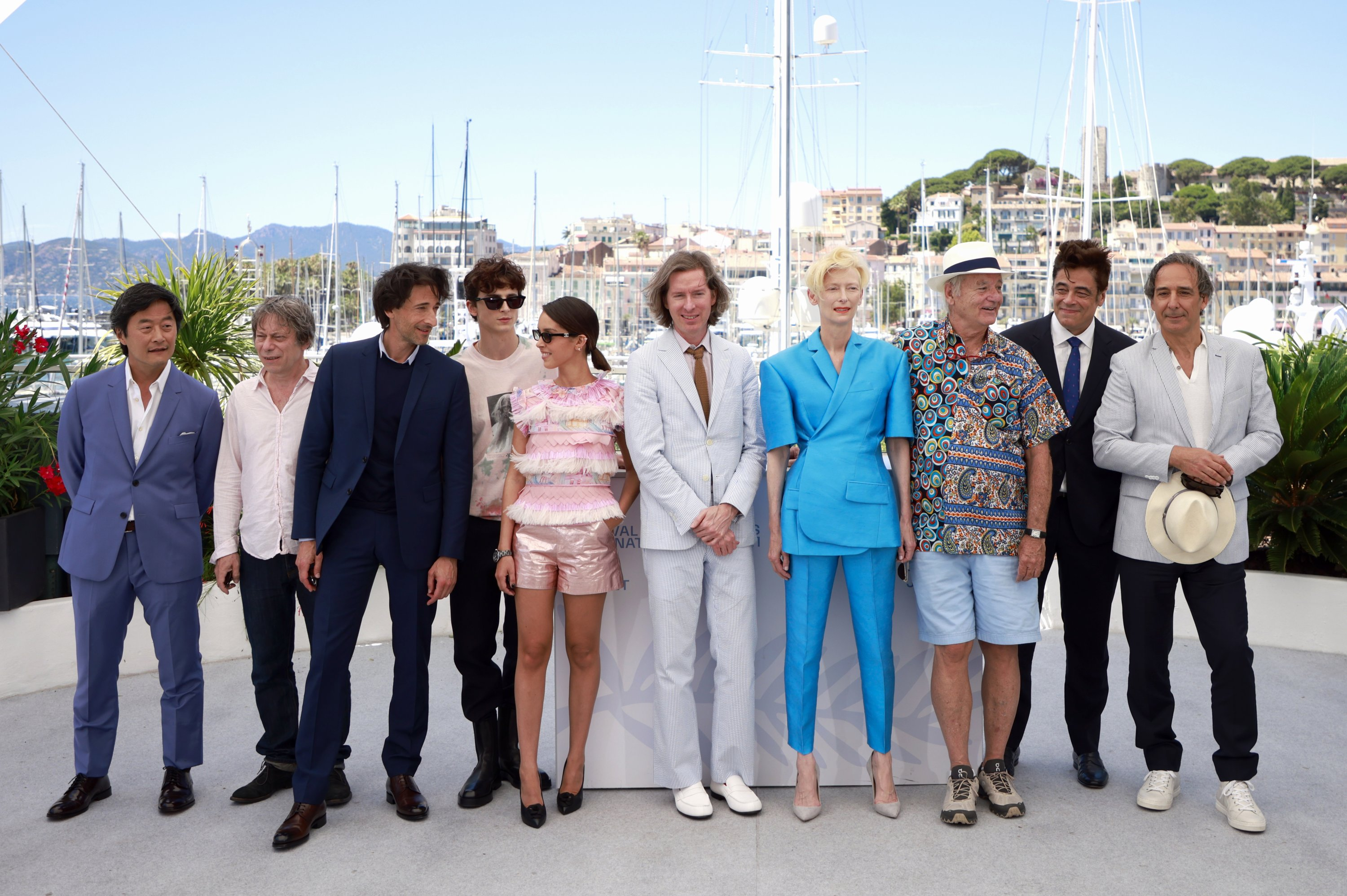 Fromthe leftStephen Park, Mathieu Almaric, Adrien Brody, Timothee Chalamet,Lyna Khoudri, Wes Anderson, Tilda Swinton, Bill Murray, Benicio Del Toro andAlexandre Desplatpose during a photocall for the film'The French Dispatch,' at the 74th Cannes Film Festival inCannes, France, July 13, 2021. (Reuters Photo)
