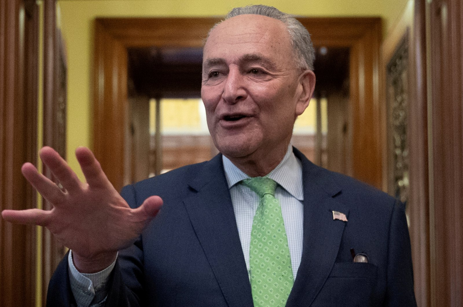 Senate Majority Leader Chuck Schumer (D-NY) speaks to news reporters following the announcement of a bipartisan deal on infrastructure, on Capitol Hill in Washington, U.S., June 24, 2021. (Reuters Photo)