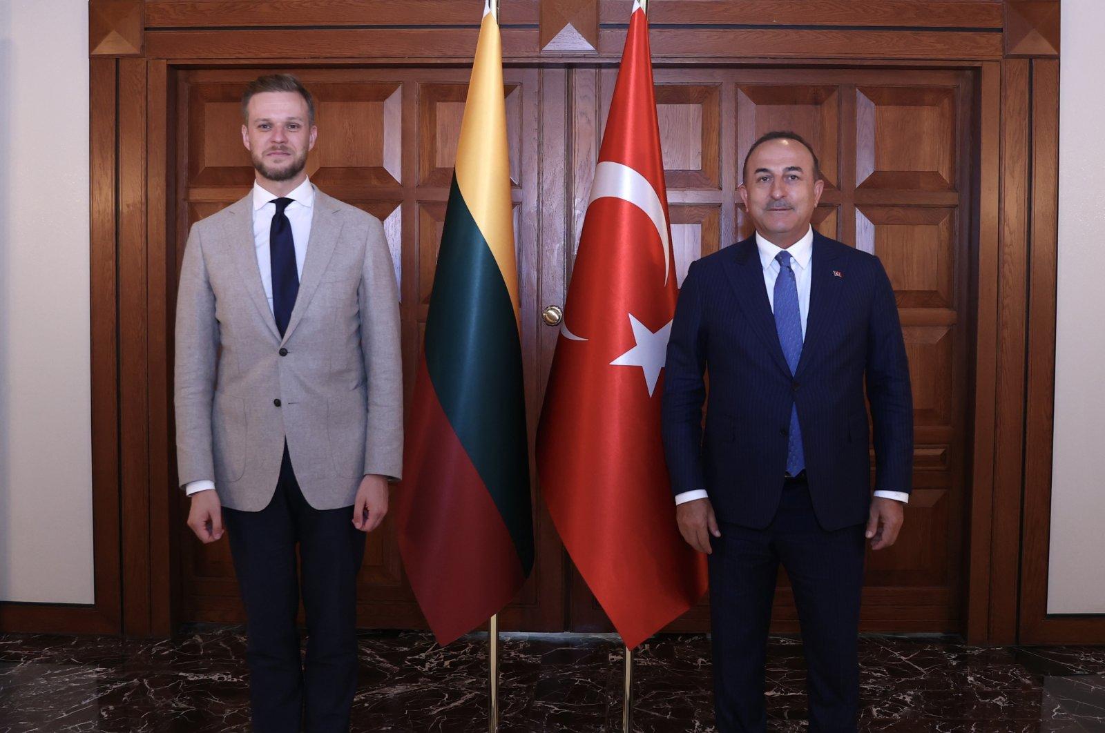 Foreign Minister Mevlüt Çavuşoğlu (R) welcomes his Lithuanian counterpart Gabrielius Landsbergis in Ankara, Turkey, July 13, 2021. (AA Photo)