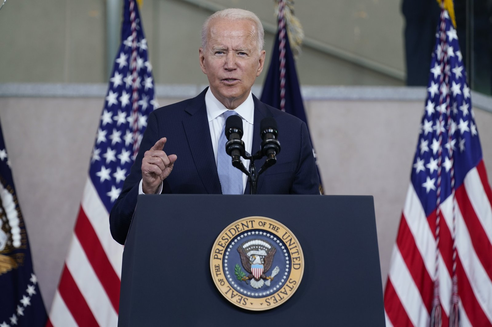 President Joe Biden delivers a speech on voting rights at the National Constitution Center, Philadelphia, Pennsylvania, U.S.,  July 13, 2021. (AP Photo)
