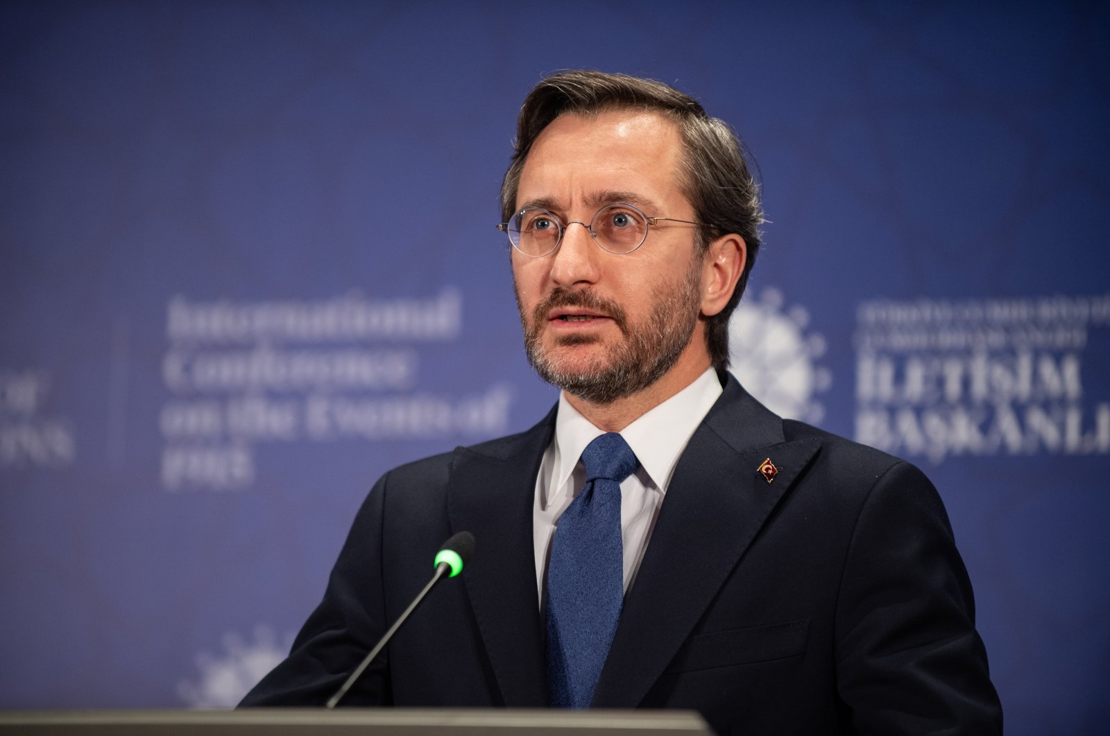 Communications Director Fahrettin Altun delivers a speech, April 22, 2021. (Courtesy of the Communications Directorate)