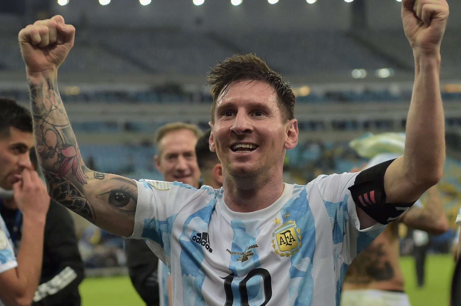 Argentina's Lionel Messi celebrates after winning the 2021 Copa America final against Brazil at Maracana Stadium in Rio de Janeiro, Brazil, July 10, 2021. (AFP Photo)