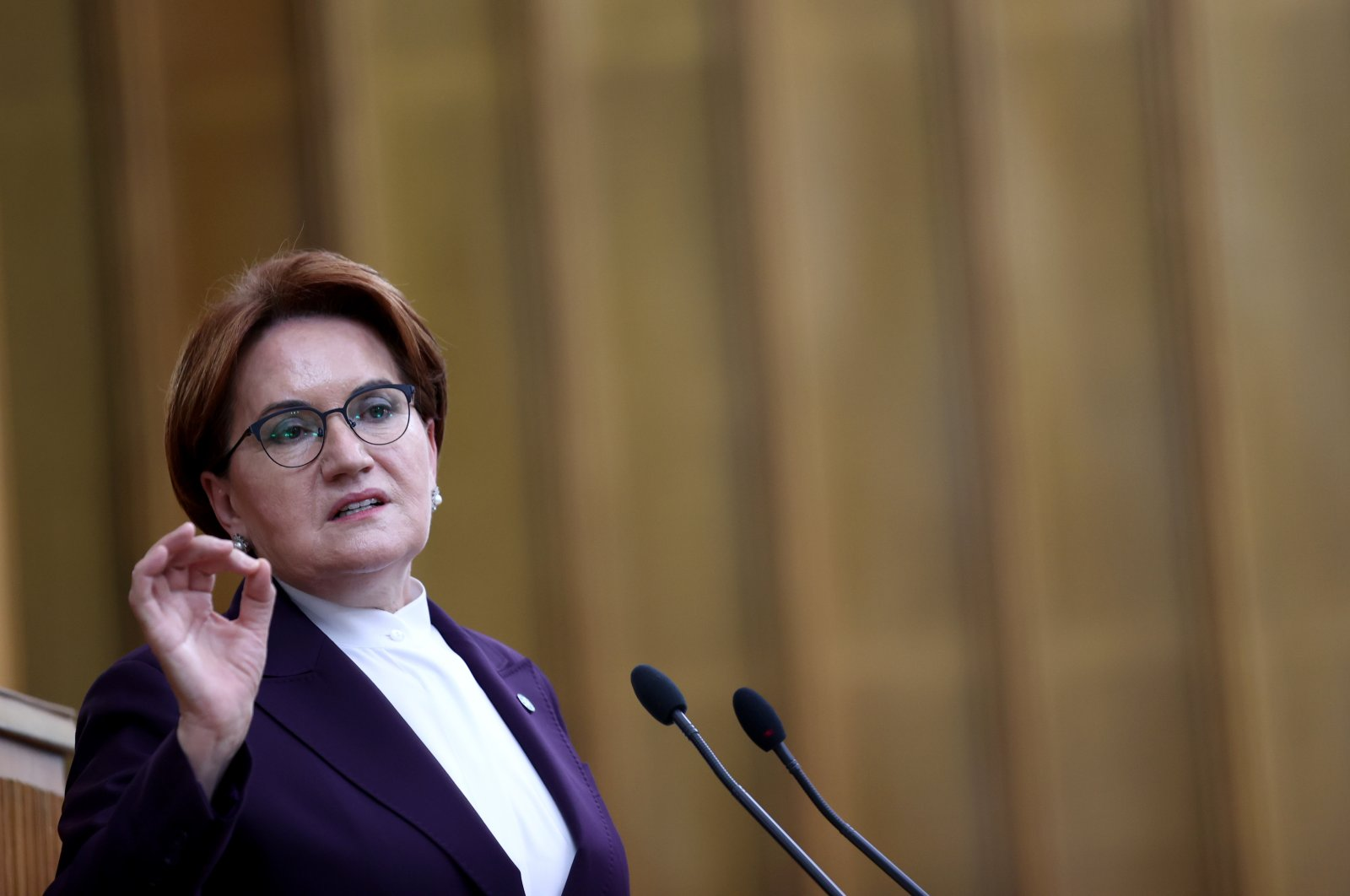Good Party (IP) leader Meral Akşener speaking at her party's parliamentary group meeting in Ankara, July 14, 2021 (AA Photo)