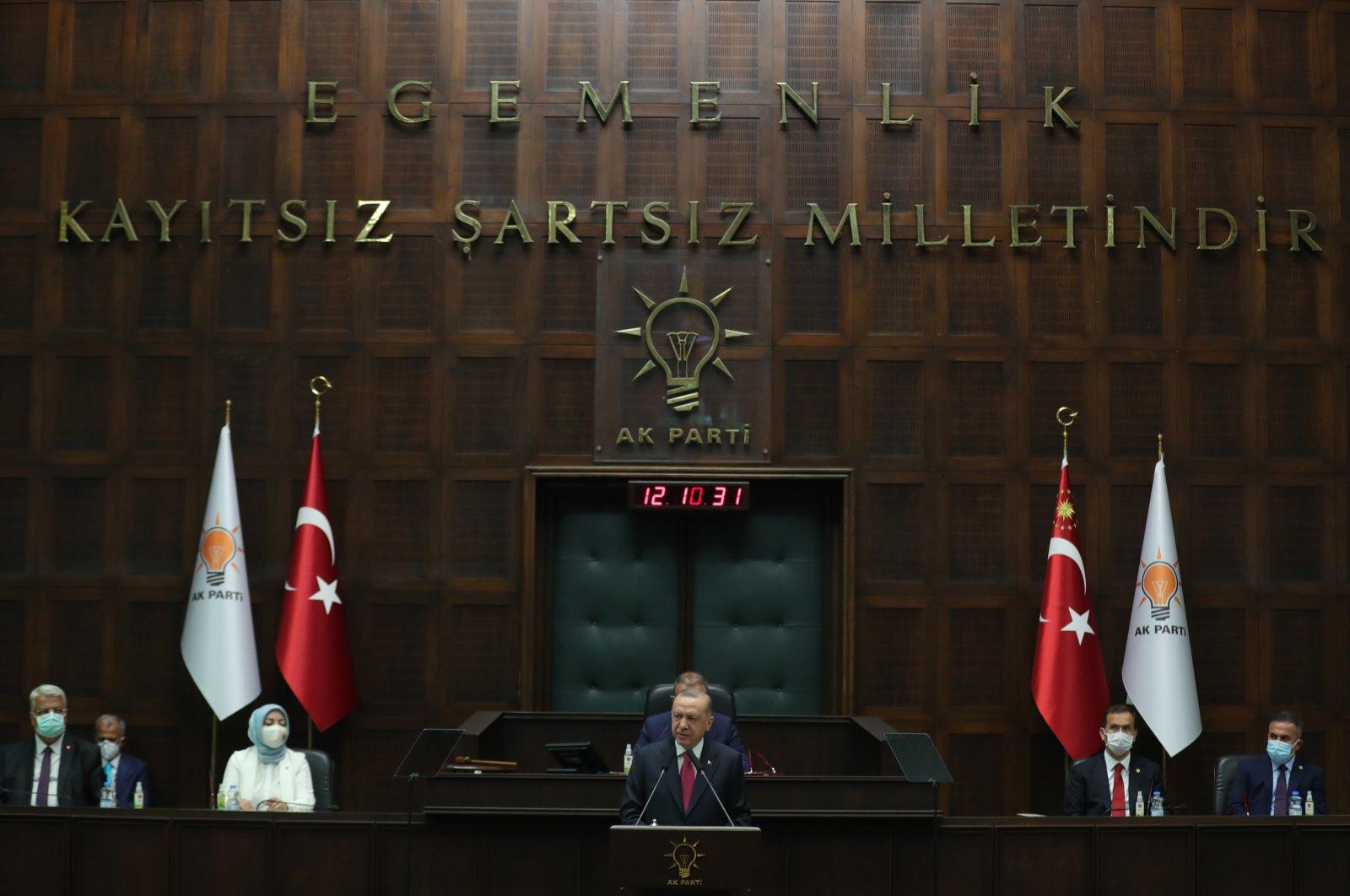 President Recep Tayyip Erdoğan speaks at an AK Party parliamentary group meeting in the Turkish Parliament in Ankara, Turkey, July 14, 2021. (AA Photo)