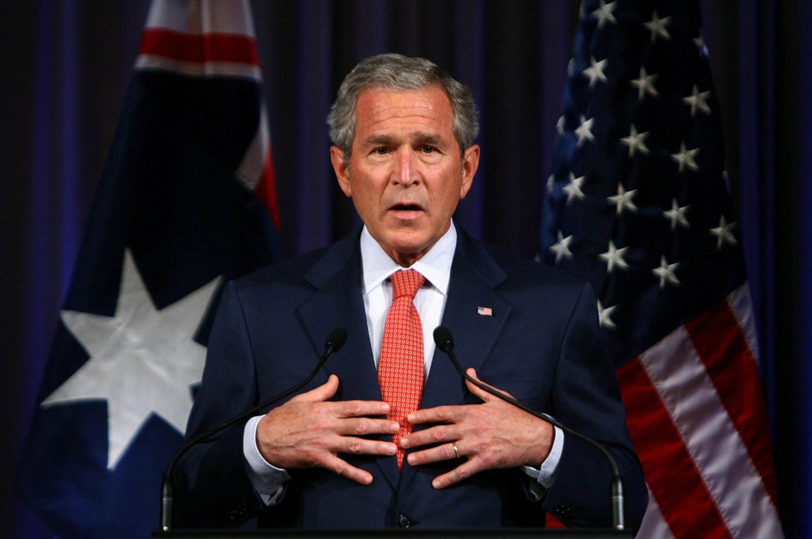 Then-U.S. President George W. Bush addresses the media during the Asia Pacific Economic Cooperation forum (APEC) on September 5, 2007, in Sydney, Australia. (Getty Images)