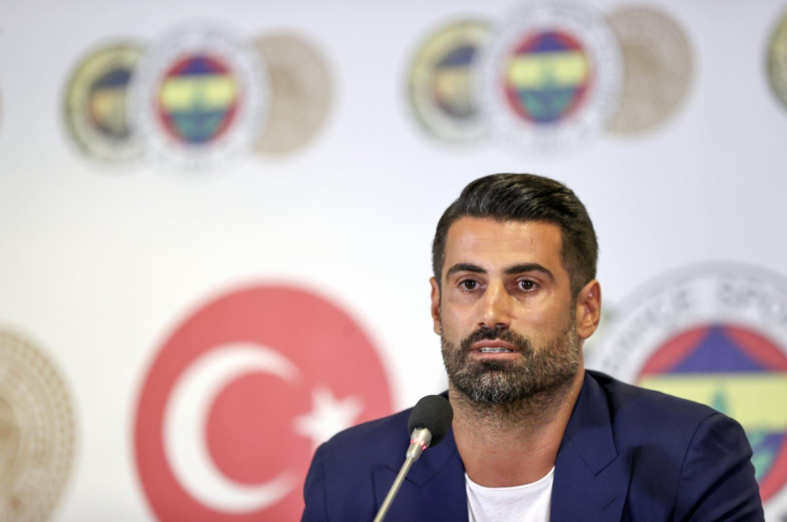 Longtime Fenerbahçe goalkeeper-turned assistant coach Volkan Demirel attends a press conference at Ülker Stadium, Istanbul, Turkey, July 14, 2021. (AA Photo)
