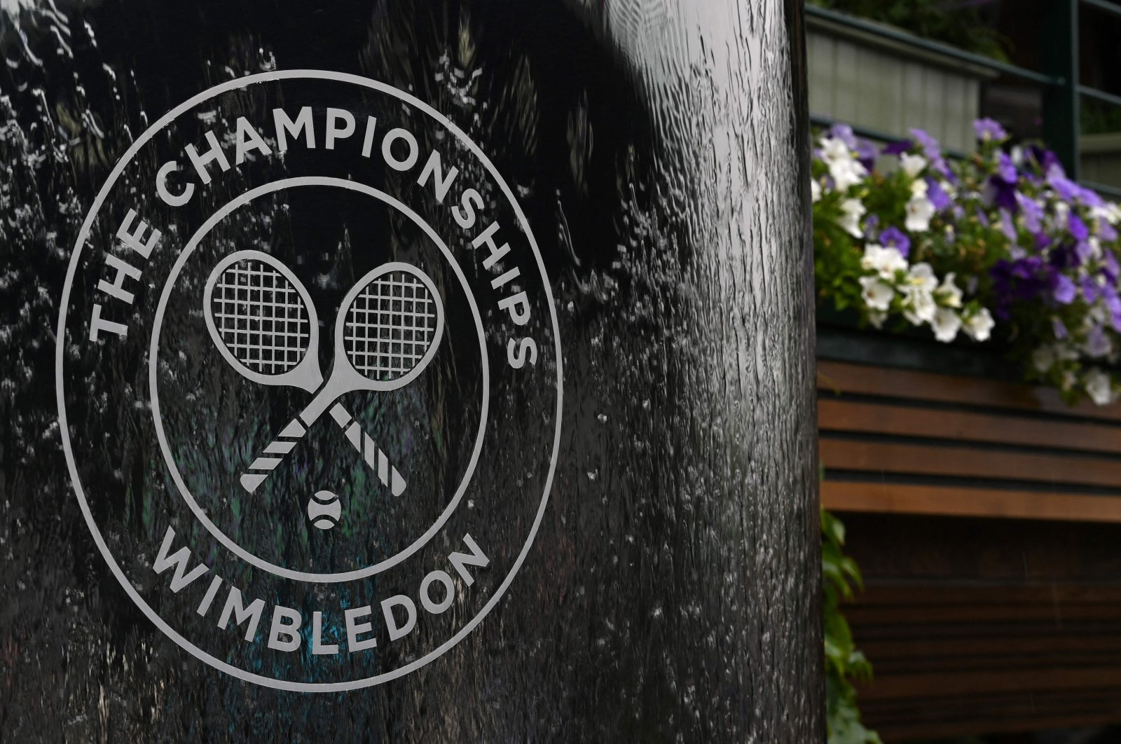 The Wimbledon logo on a water feature during the 2021 Wimbledon at the All England Tennis Club in Wimbledon, London, England, July 3, 2021. (AFP Photo)