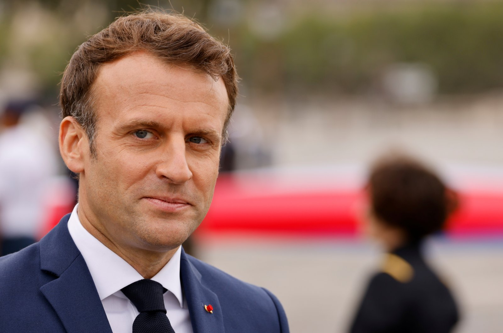 French President Emmanuel Macron attends the annual Bastille Day military parade on the Champs-Elysees avenue in Paris, France, July 14, 2021. (Reuters Photo)
