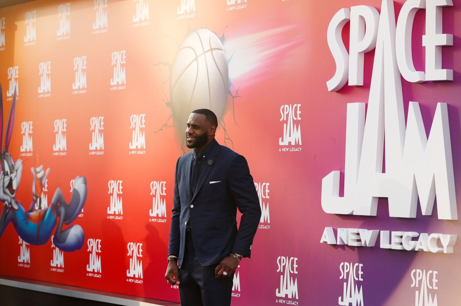 """Cast member LeBron James attends the premiere for the film """"Space Jam: A New Legacy"""" in Los Angeles, California, U.S., July 12, 2021. (Reuters Photo)"""