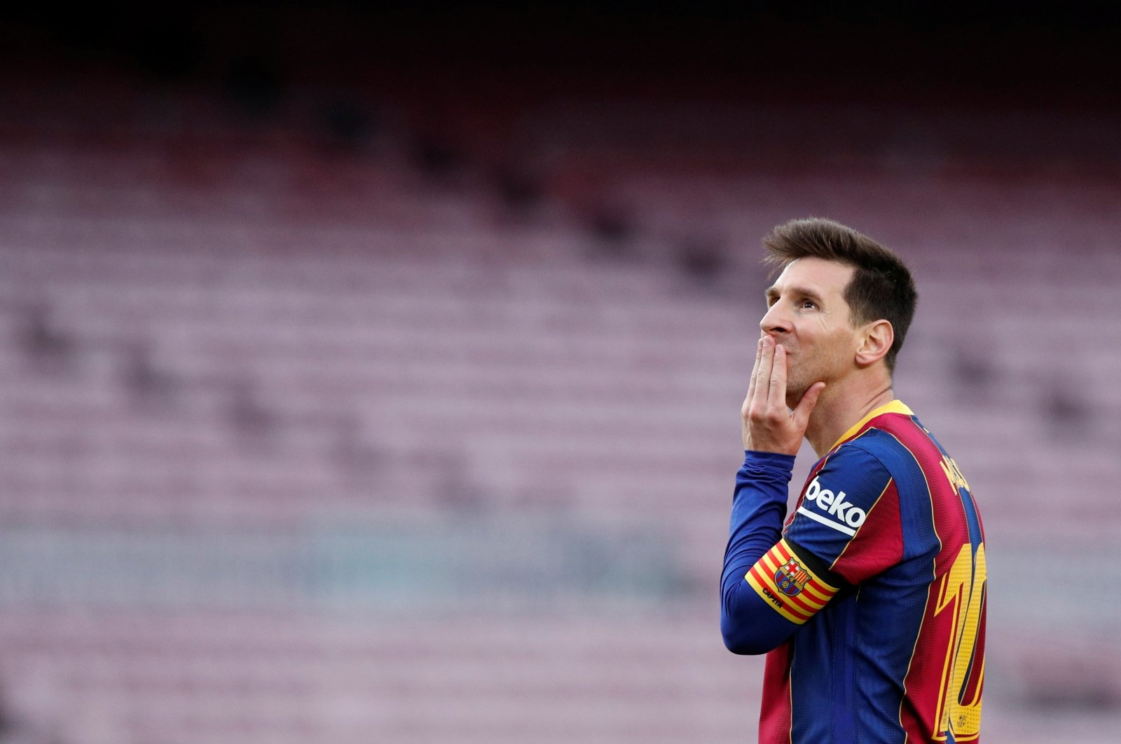 Lionel Messi reacts during a La Liga match between Barcelona and Celta Vigo at Camp Nou stadium, in Barcelona, Spain, May 16, 2021. (Reuters Photo)