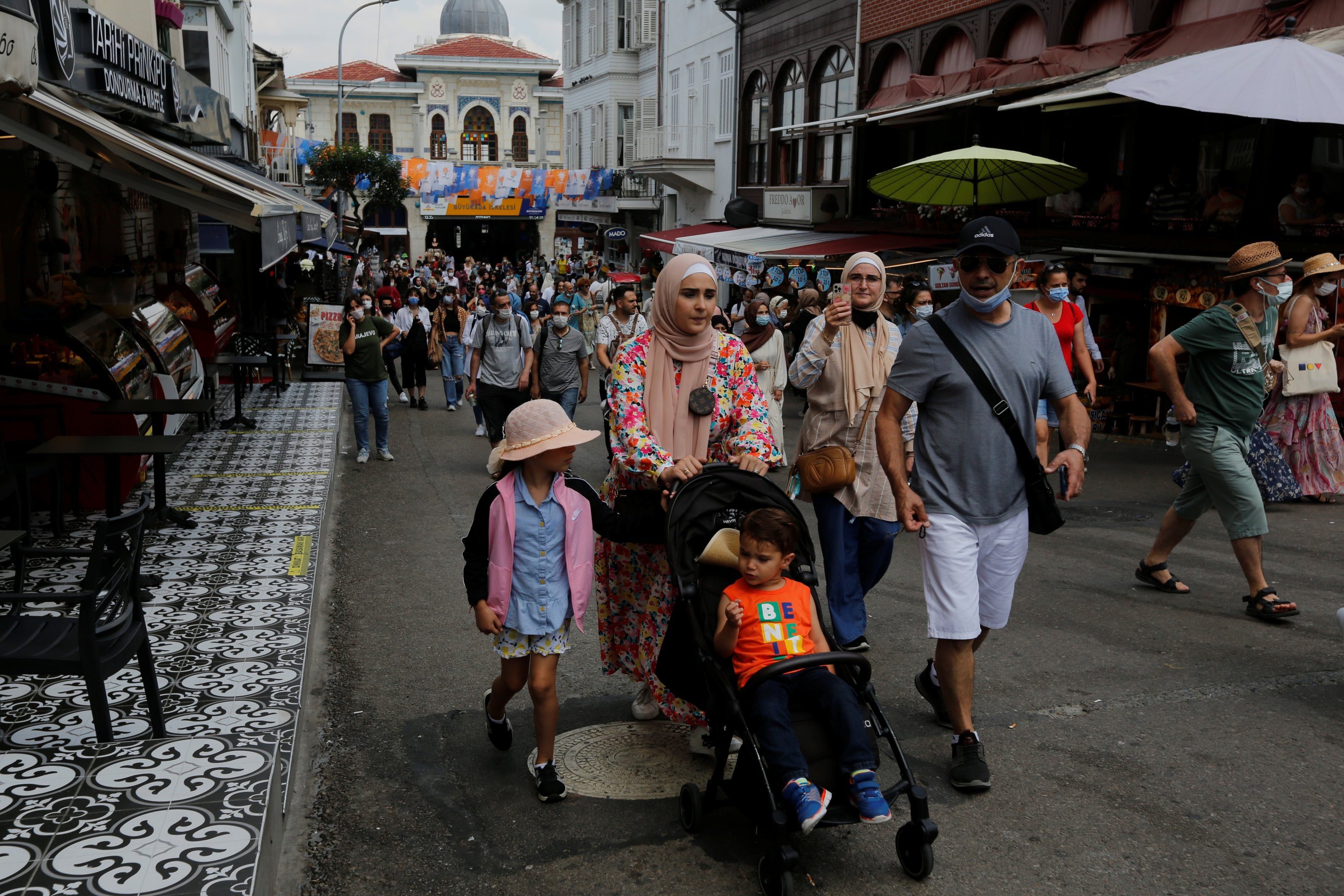 Foreign tourists visit Büyükada, the largest of the Princes' Islands in the Marmara Sea, off Istanbul, Turkey July 14, 2021. (Reuters Photo)