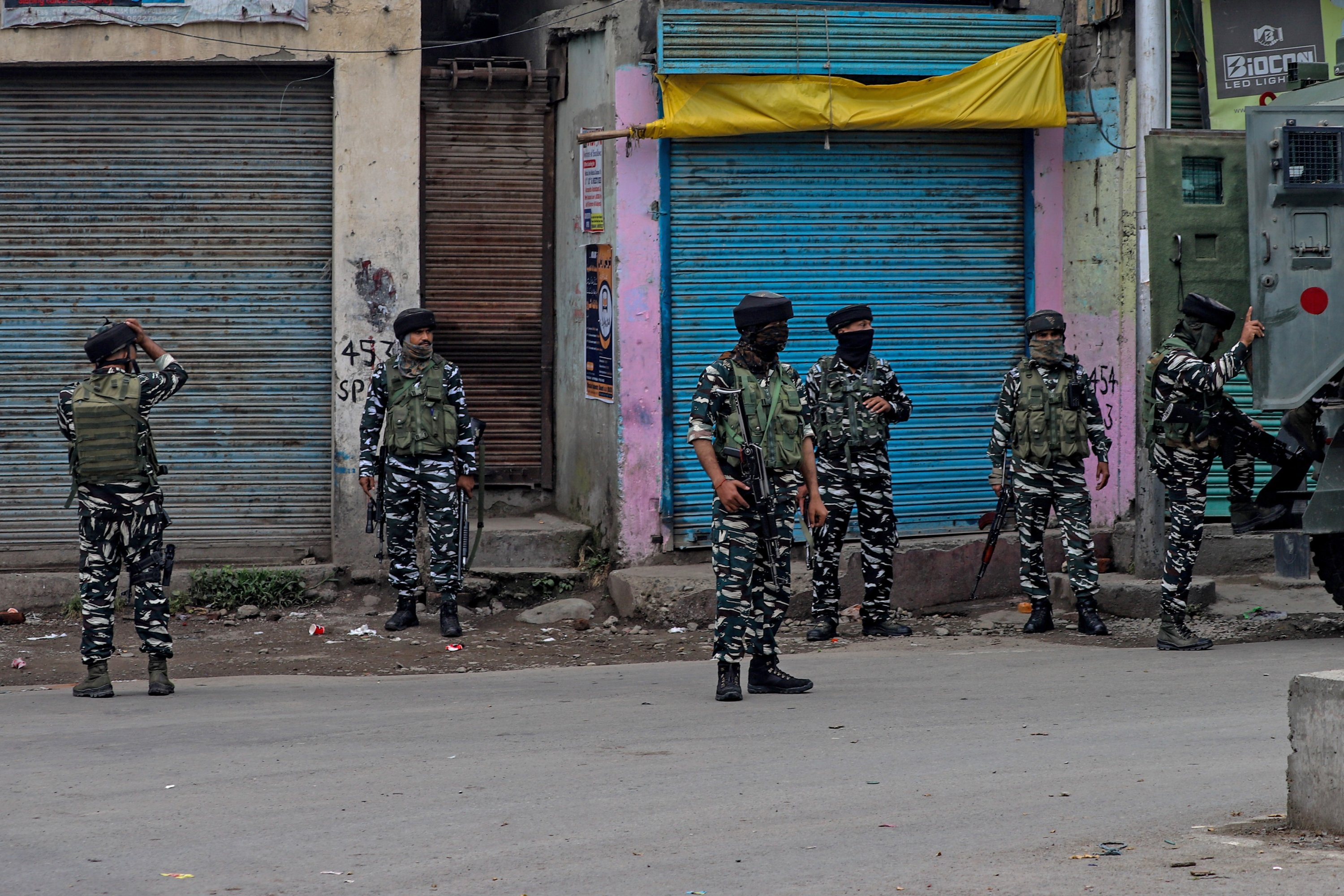 Indian security personnel during an encounter with militants at new colony in Pulwama district, Indian-controlled Kashmir, July 13, 2021. (Photo by Getty Images)