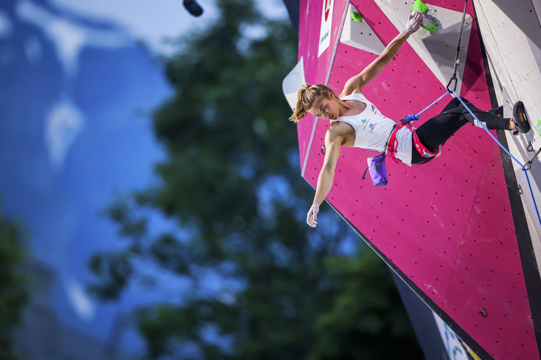Slovenia's Vita Lukan competes at the International Federation of Sport Climbing (IFSC) World Cup women's finals in Villars-sur-Ollon, Switzerland, July 3, 2021. (EPA Photo)