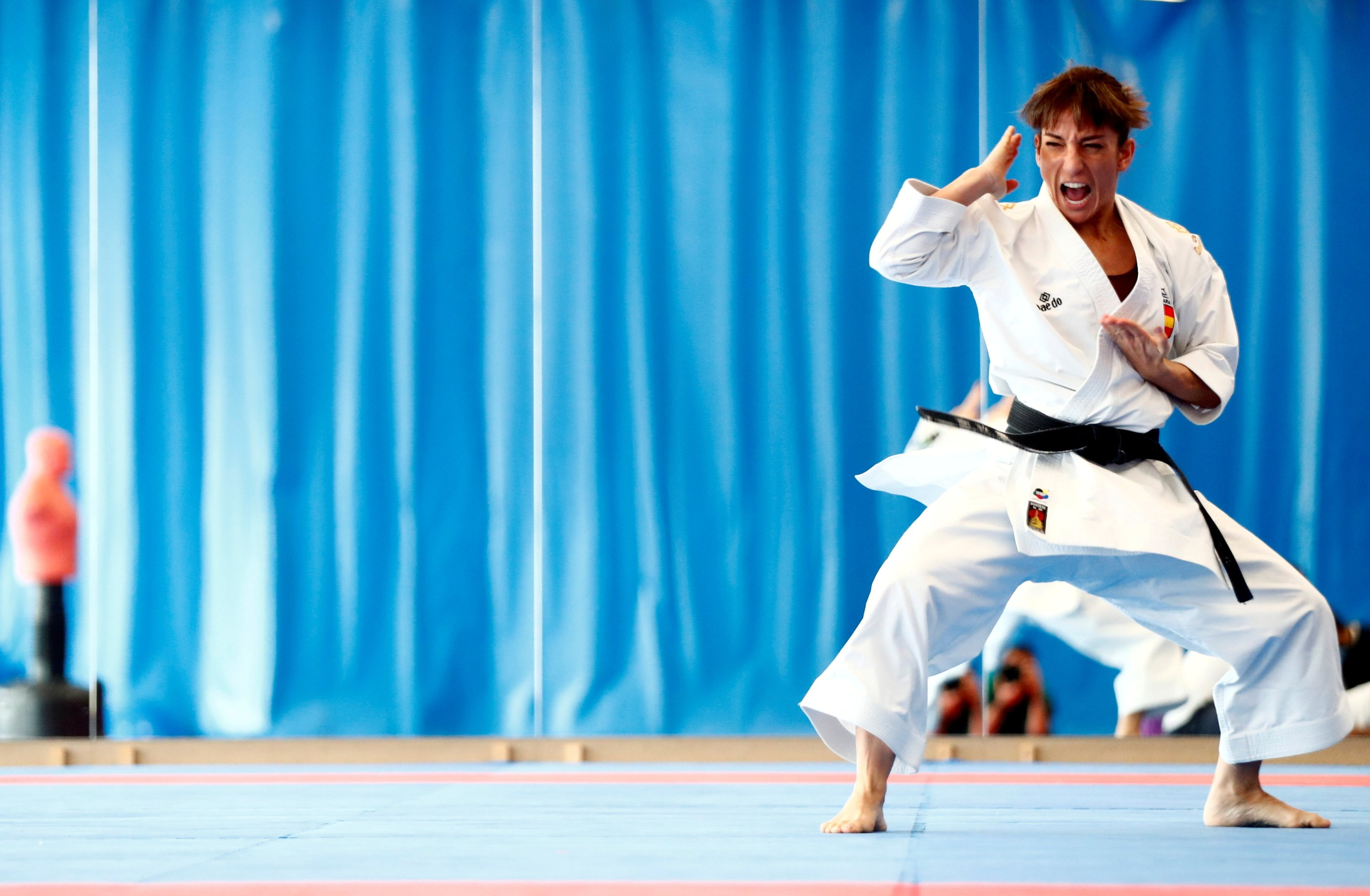 Spain's Karate kata athlete Sandra Sanchez, current World and European Champion, strikes a pose during a training session in Madrid while preparing for the upcoming Tokyo Olympic Games, March 3, 2021. (Reuters Photo)