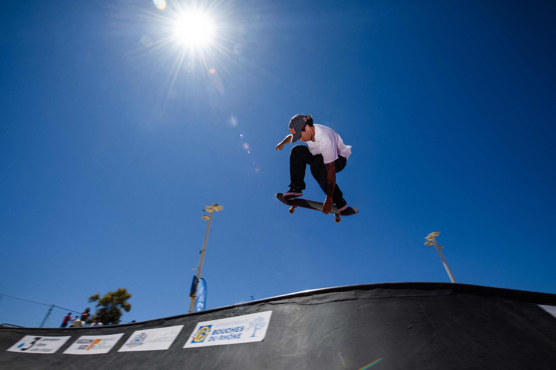 French skateboarder Vincent Matheron trains for the Tokyo Olympic Games at the Bowl du Prado skatepark in Marseille, France, June 24, 2021. (AFP Photo)