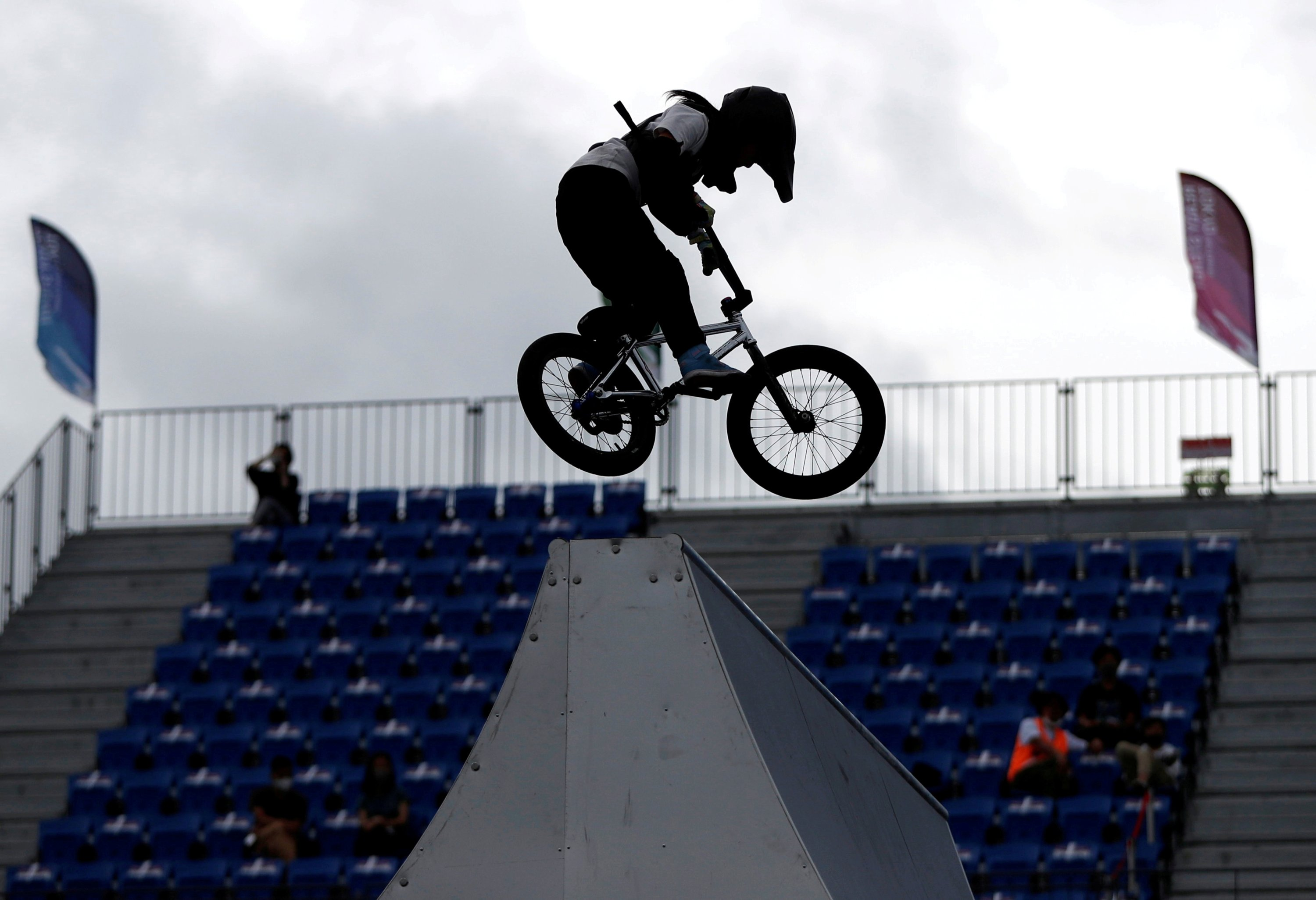 Japan's Miharu Ozawa competes during a women's seeding run event at the Tokyo 2020 Olympics Cycling BMX test event at Ariake Urban Sports Park in Tokyo, Japan, May 17, 2021. (Reuters Photo)