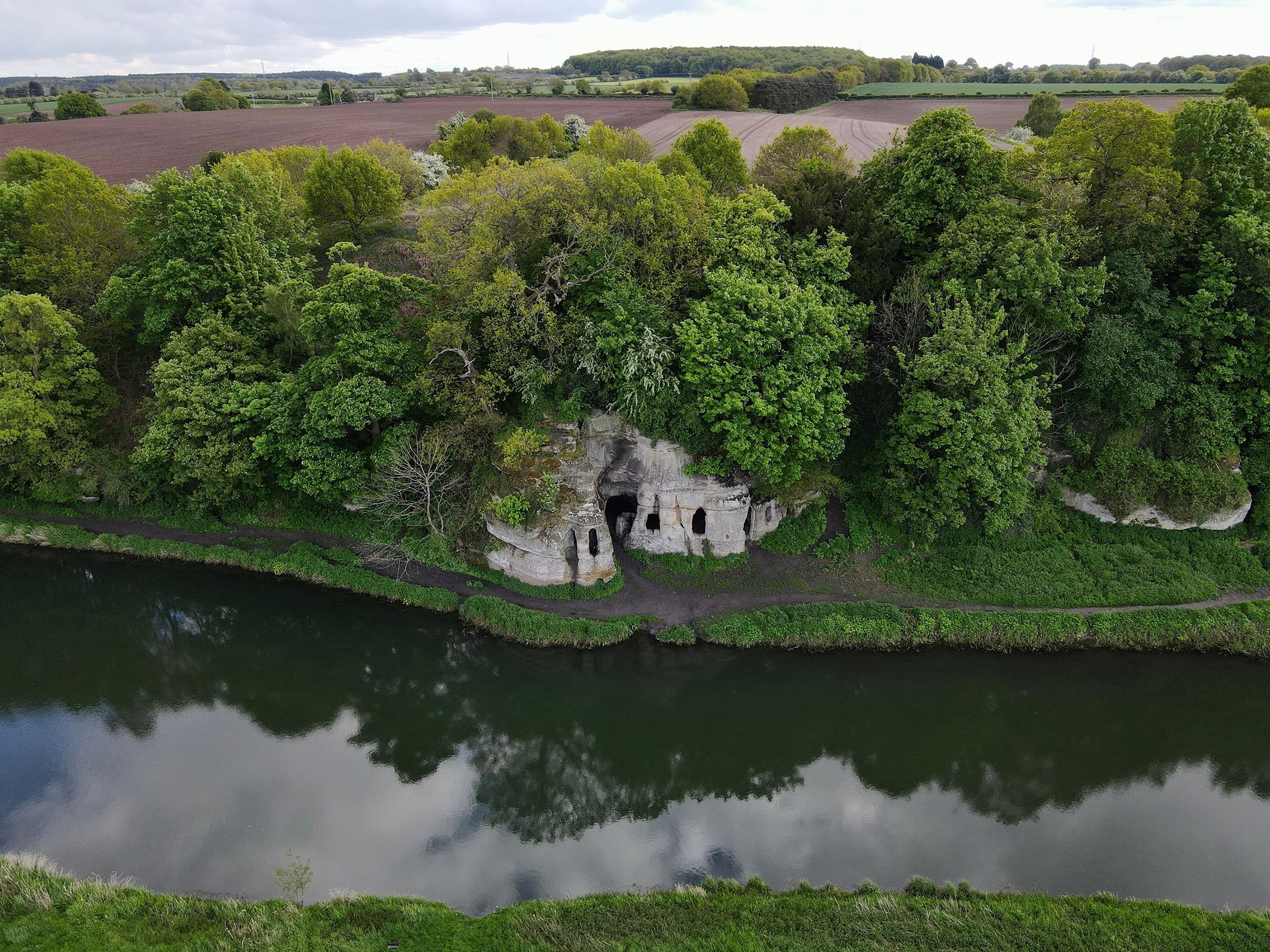 An aerial view of Anchor Church Caves, Derbyshire, the U.K. (Shutterstock Photo)