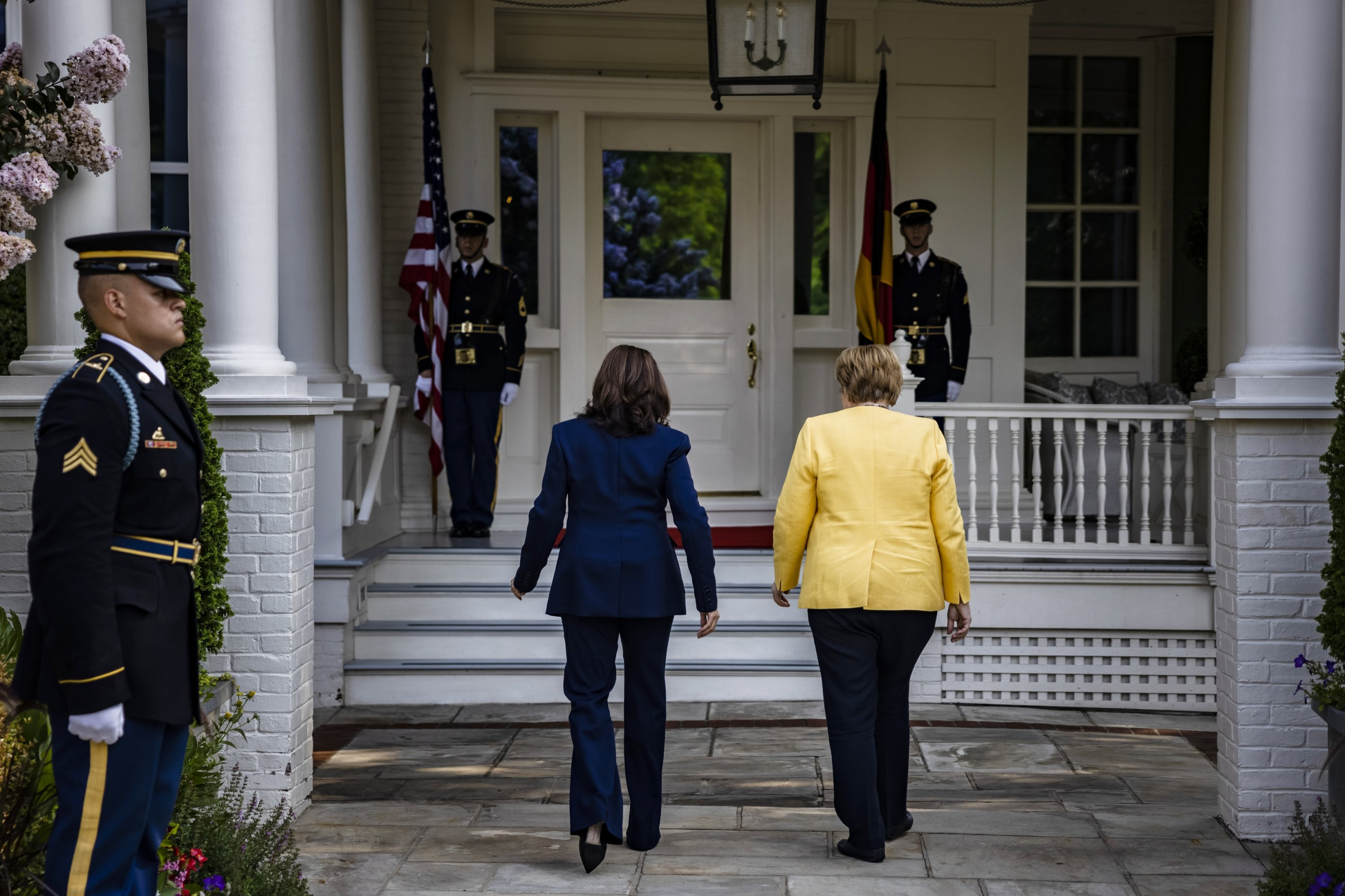 U.S. Vice President Kamala Harris (L) welcomes German Chancellor Angela Merkel for a working breakfast to the Vice President's residence at One Observatory Circle in Washington, DC, USA, 15 July 2021. Merkel is on an official visit to Washington. (EPA Photo)