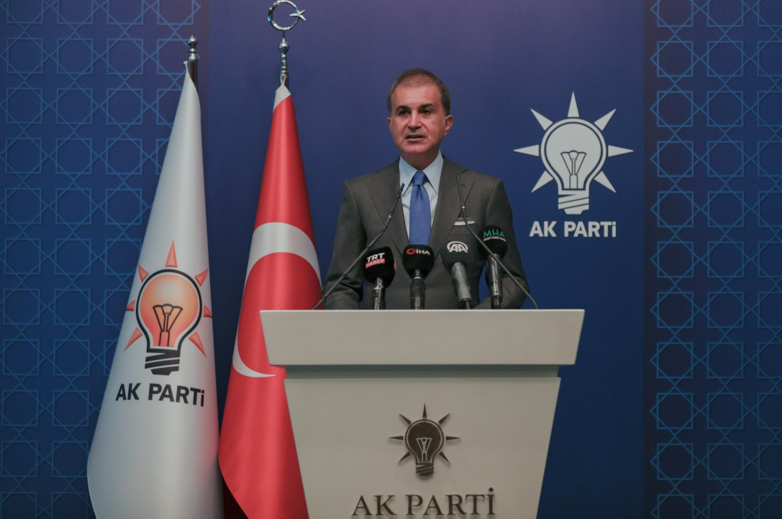 AK Party Spokesperson Ömer Çelik speaks at a news conference at party headquarters in Turkey's capital Ankara, July 14, 2021. (AA Photo)