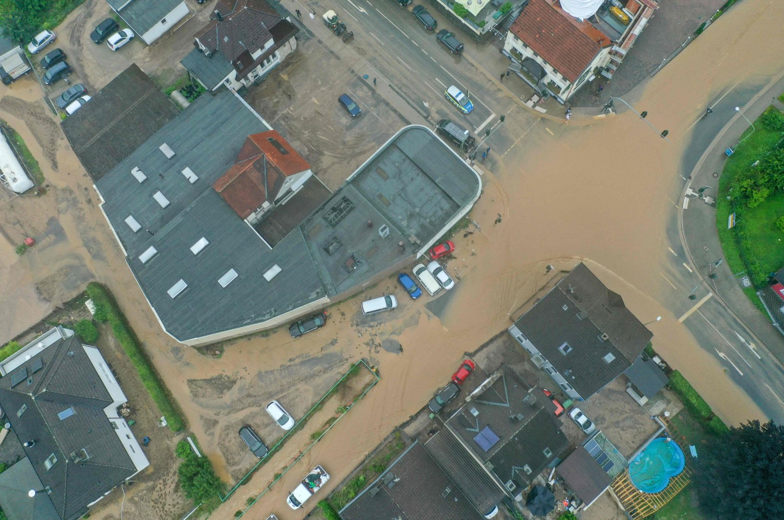 An aerial view of a flooded intersection in Hagen, western Germany, July 14, 2021, after heavy rain hit parts of the country, causing widespread flooding. (AFP Photo)