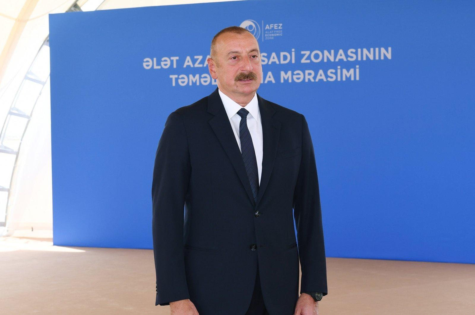 Azerbaijan's President Ilham Aliyev is seen during the groundbreaking of a free trade zone in Alat, Azerbaijan, July 1, 2021 (AA Photo)