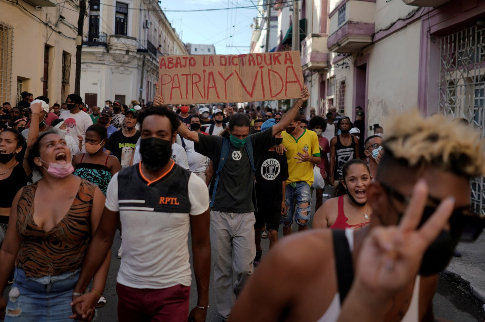 People shout slogans against the government during a protest, in Havana, Cuba, July 11, 2021. (Reuters Photo)