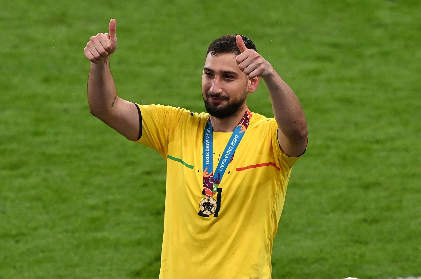 Italy goalkeeper Gianluigi Donnarumma gives the thumbs up after the UEFA Euro 2020 final against England in London, England, July 11, 2021. (EPA Photo)