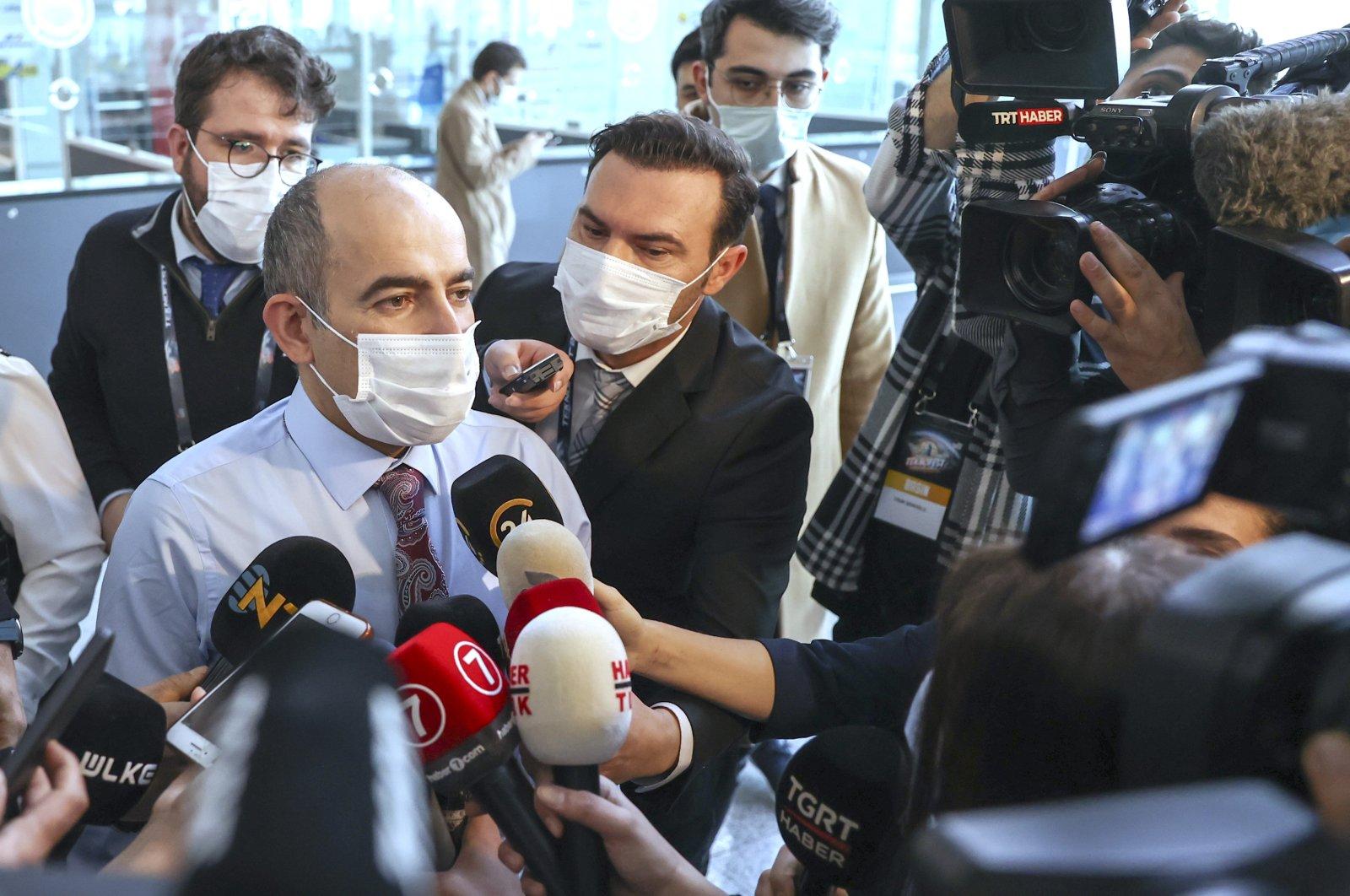 Professor Melih Bulu speaks to reporters, in Istanbul, Turkey, Feb. 4, 2021. (AA PHOTO)