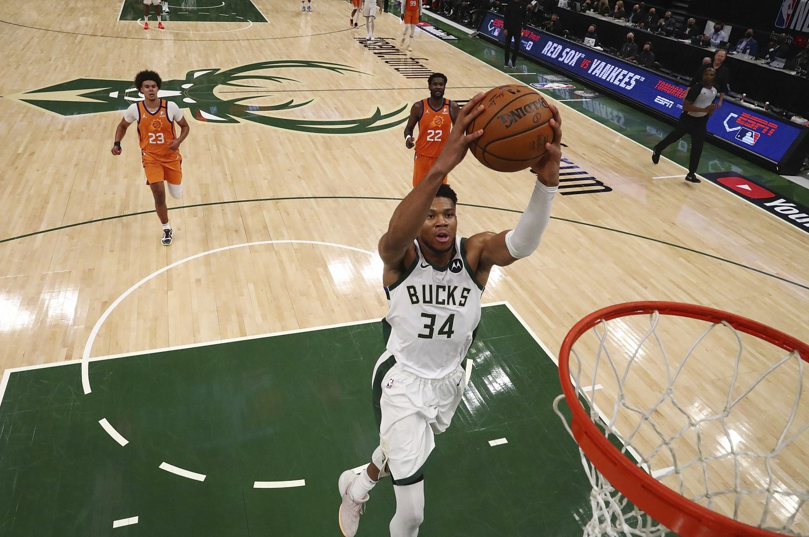 Milwaukee Bucks forward Giannis Antetokounmpo drives to the basket against the Phoenix Suns during NBA Finals Game 4, Milwaukee, Wisconsin, U.S., July 14, 2021. (AP Photo)