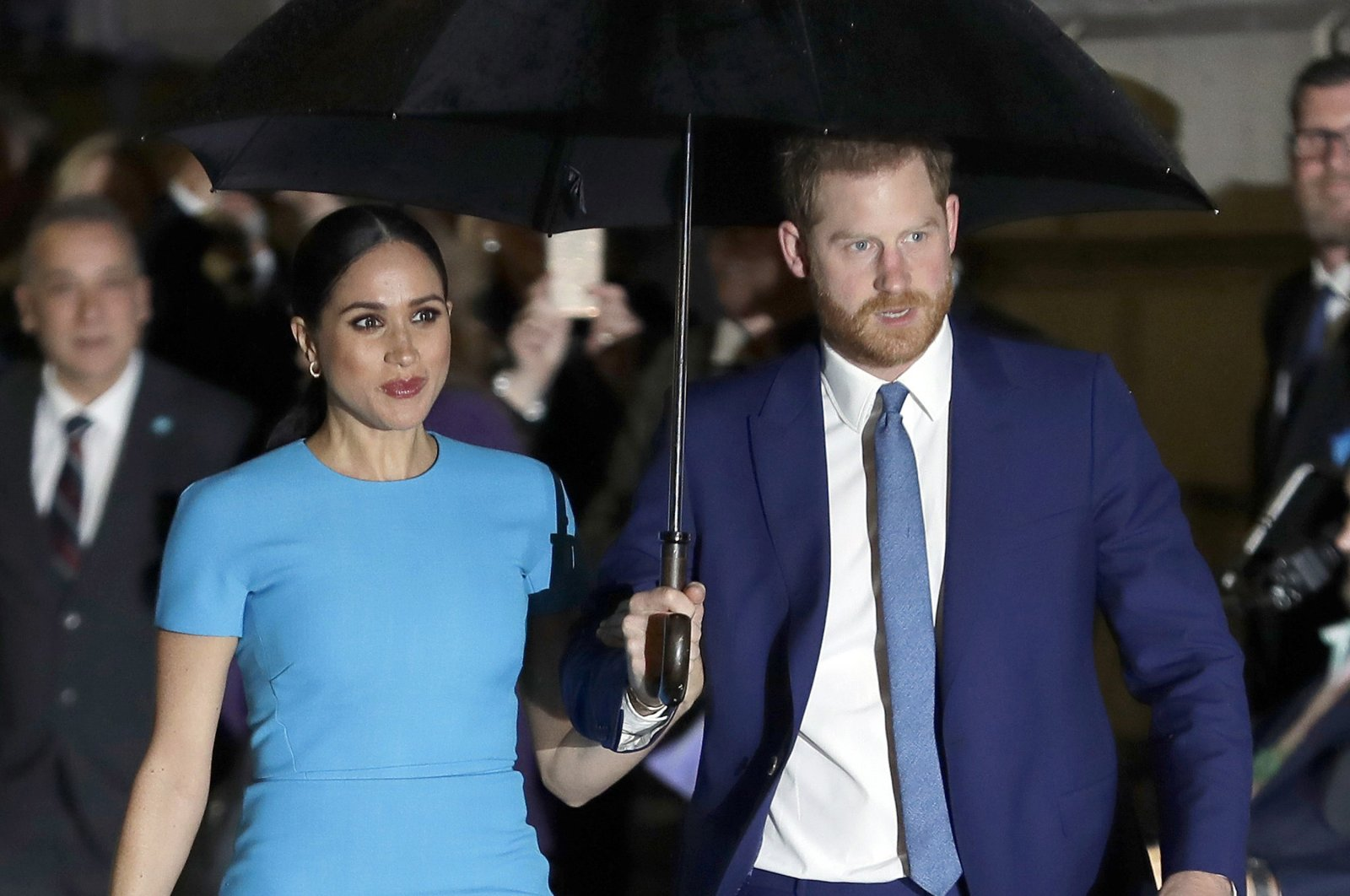 Britain's Prince Harry and Meghan, Duchess of Sussex, arrive at the annual Endeavour Fund Awards in London, U.K., March 5, 2020. (AP Photo)