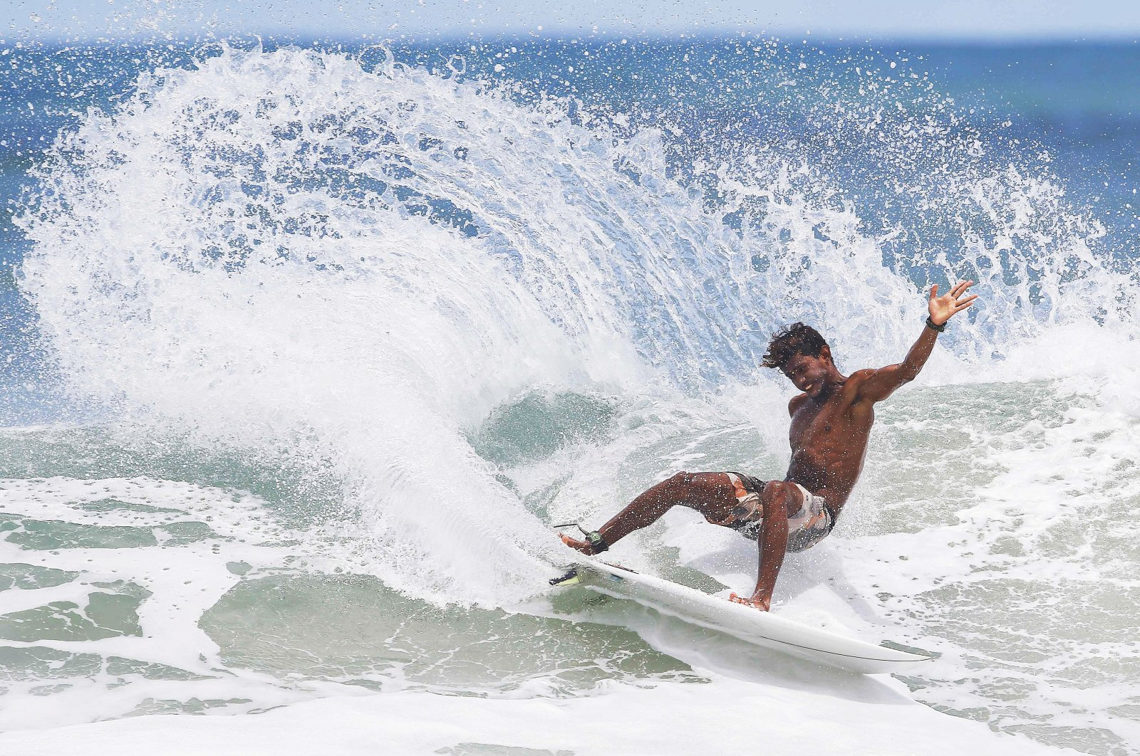 A surfer in action on Garza Beach, in the province of Guanacaste, Costa Rica, June 23, 2021. Surfing will make its debut at the Tokyo 2020 Olympics. (EPA Photo)