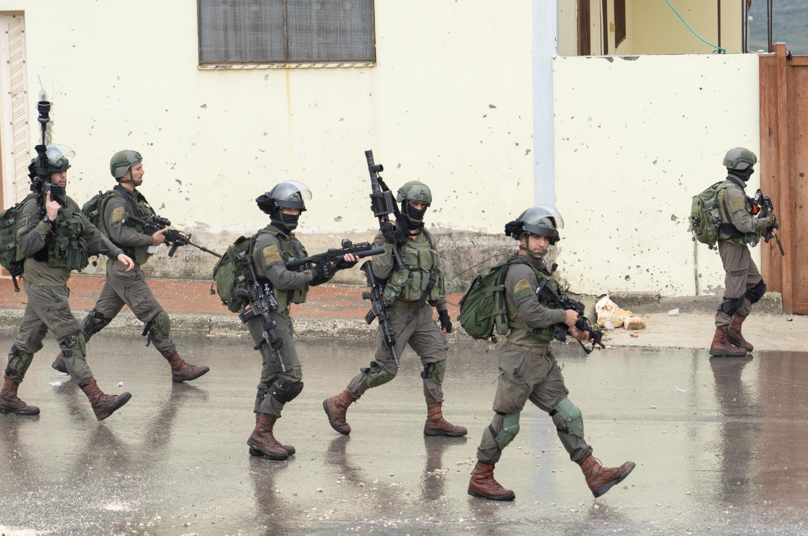 Israeli soldiers patrol a street near the city Nablus in the occupied West Bank, April 10, 2020.  (Getty Images)