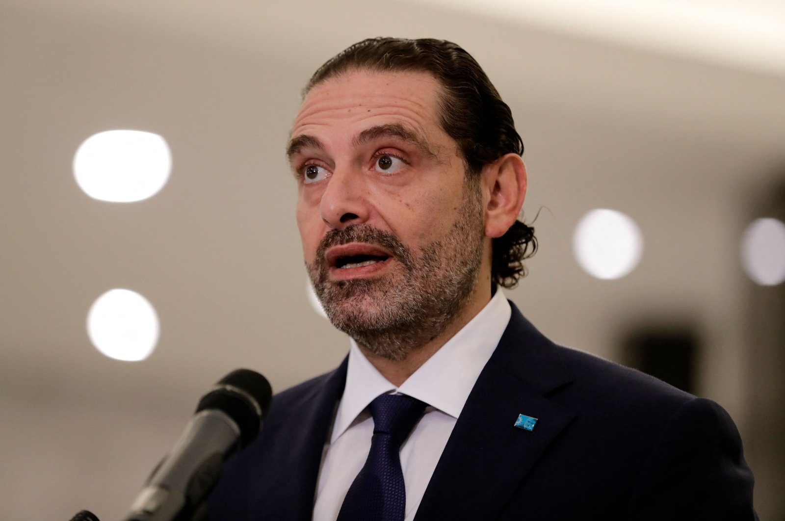 Former Lebanese Prime Minister Saad Hariri delivers a statement after the president named him to form a new cabinet, at the presidential palace in Baabda, east of the capital Beirut, Lebanon, Oct. 22, 2020. (AFP Photo)