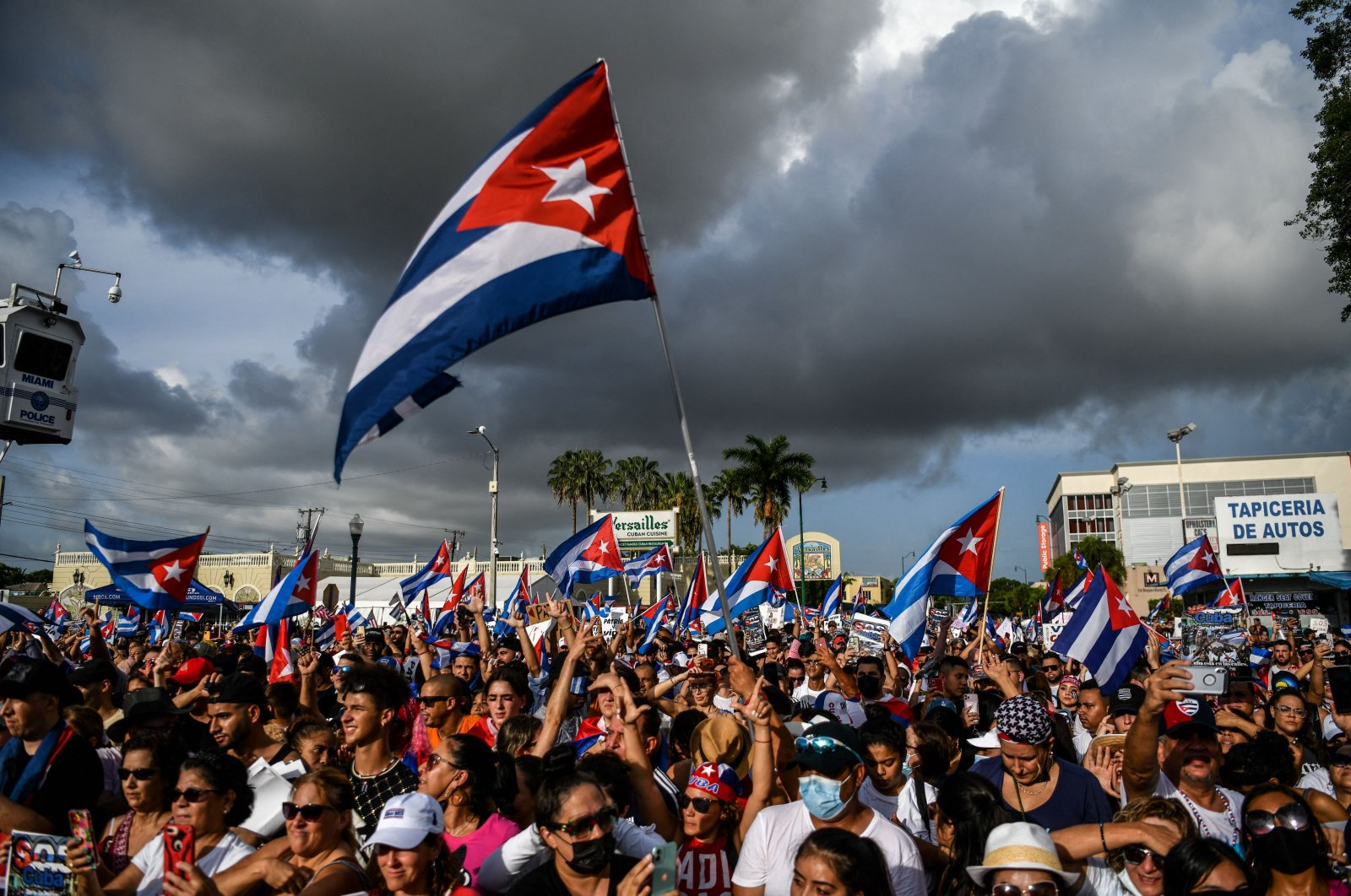 People protest to show support for Cubans demonstrating against their government, in Miami, Florida, U.S., July 14, 2021. (AFP Photo)