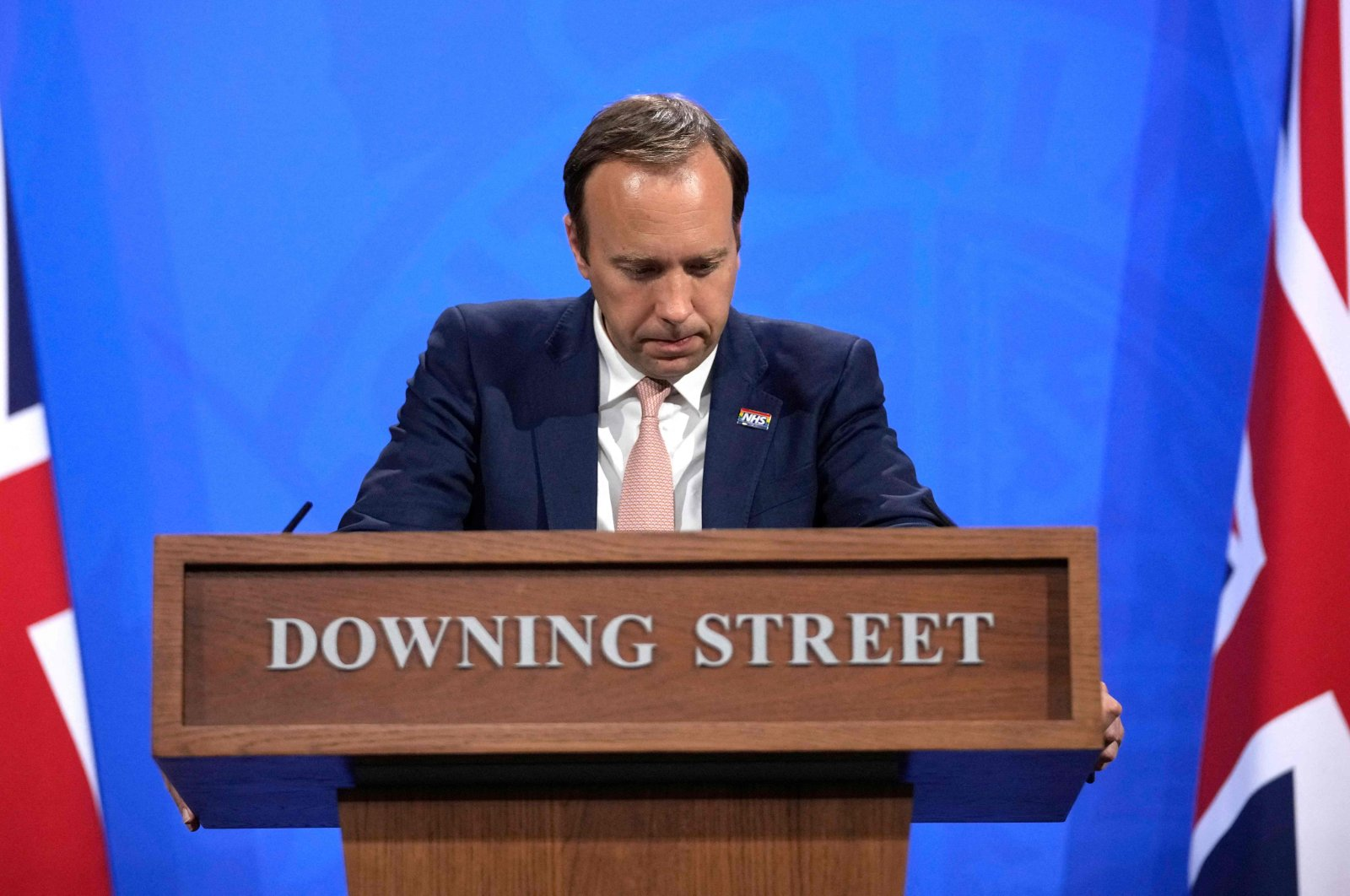 Britain's Health Secretary Matt Hancock gives an update on the coronavirus pandemic during a virtual press conference in Downing Street in central London, U.K., May 27, 2021. (AFP Photo)