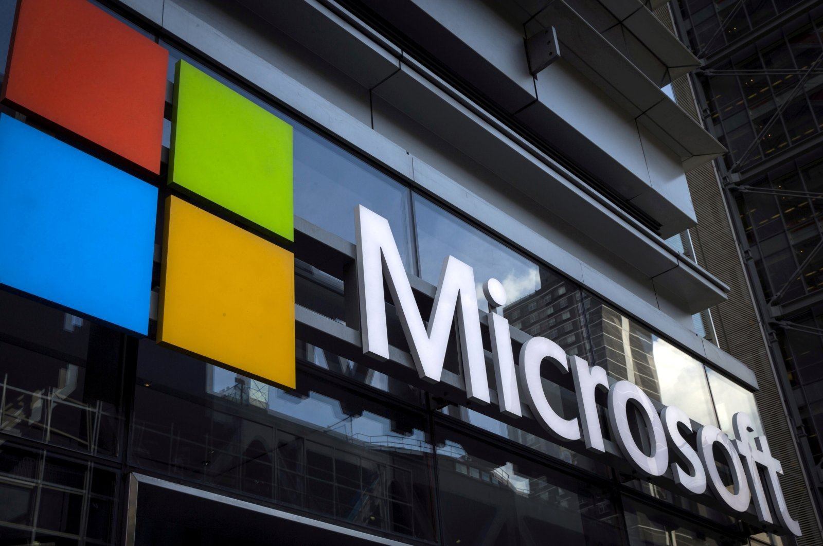 A Microsoft logo is seen on an office building in New York City, U.S., July 28, 2015. (Reuters Photo)