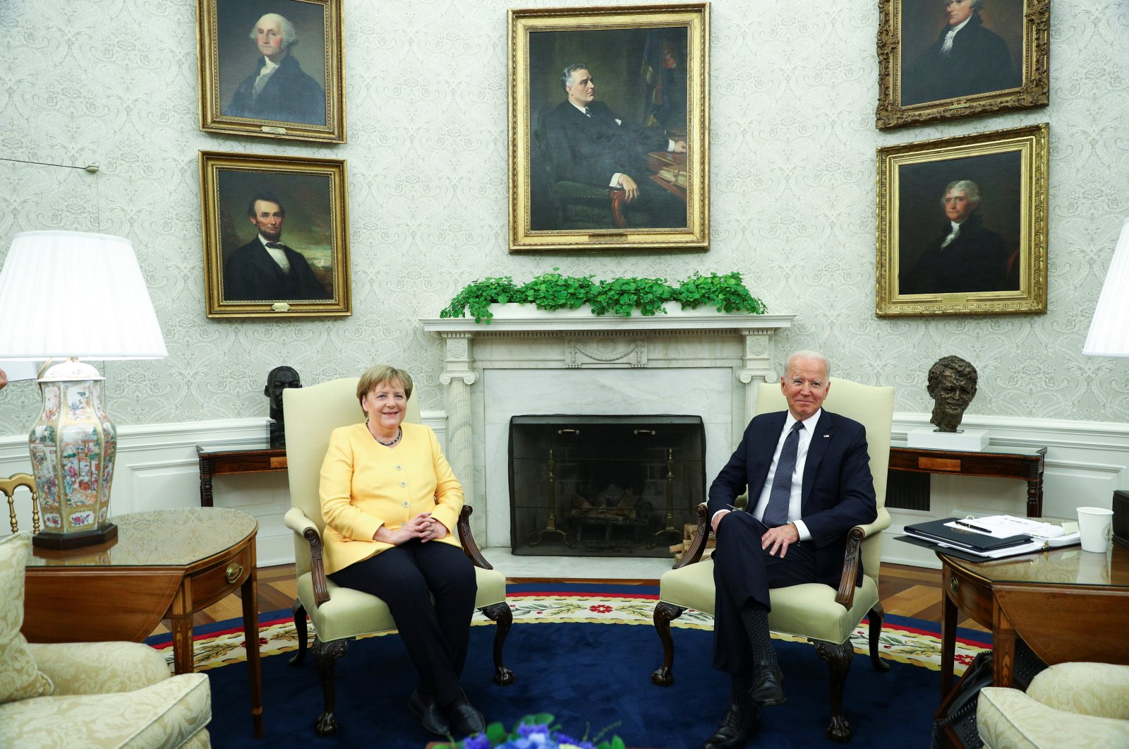 U.S. President Joe Biden holds a bilateral meeting with German Chancellor Angela Merkel in the Oval Office at the White House in Washington, D.C., U.S., July 15, 2021. (Reuters Photo)