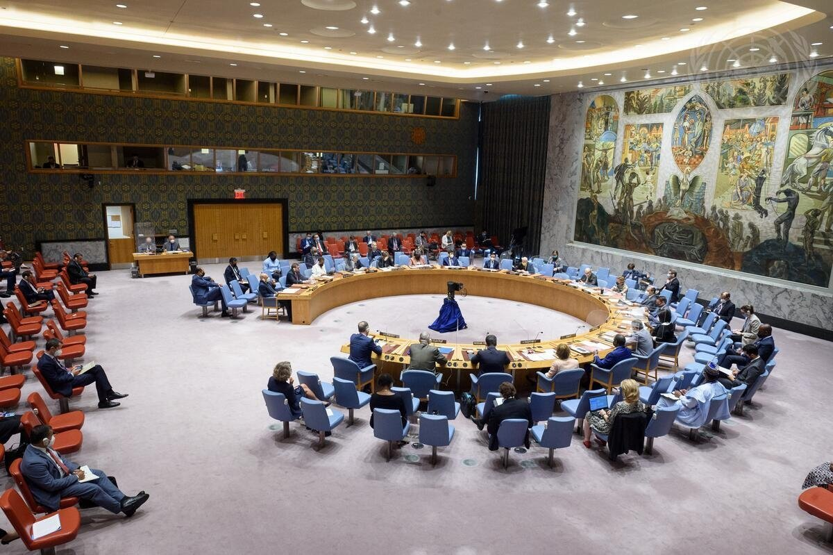 The United Nations Security Council meeting on Libya is seen in New York, U.S., July 16, 2021 (AA Photo)