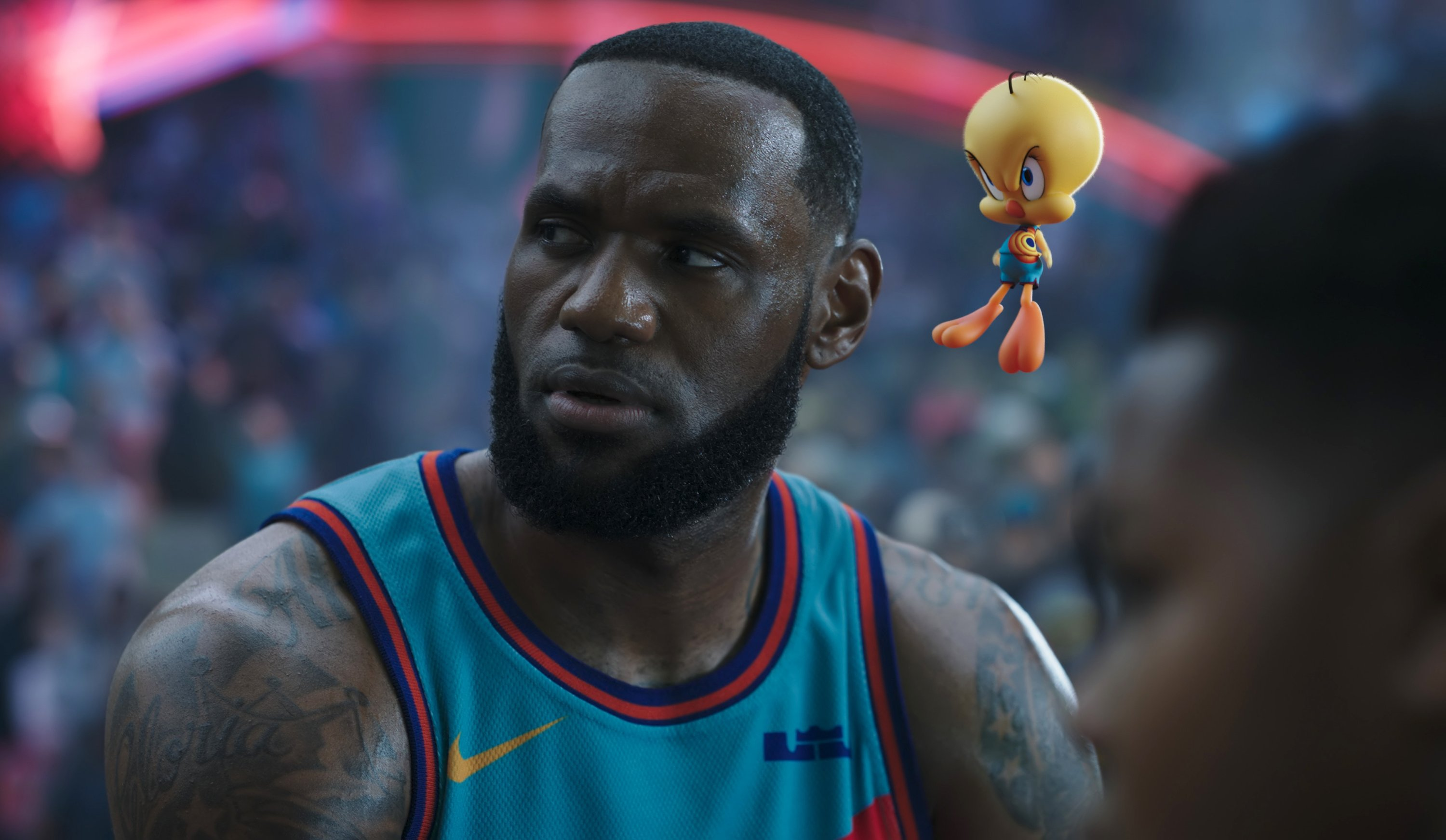 This image released by Warner Bros. Entertainment shows Lebron James in a scene from 'Space Jam: A New Legacy.' (AP Photo)