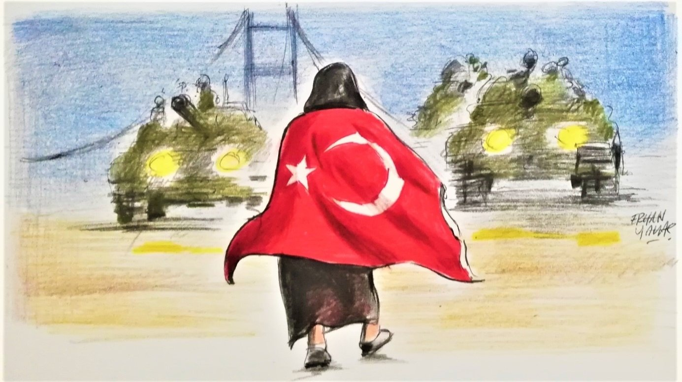 Illustration by Erhan Yalvaç shows an iconic moment of the July 15 coup attempt when a woman walks against the tanks of the coup plotters, in the background of Istanbul's July 15 Martyrs Bridge.