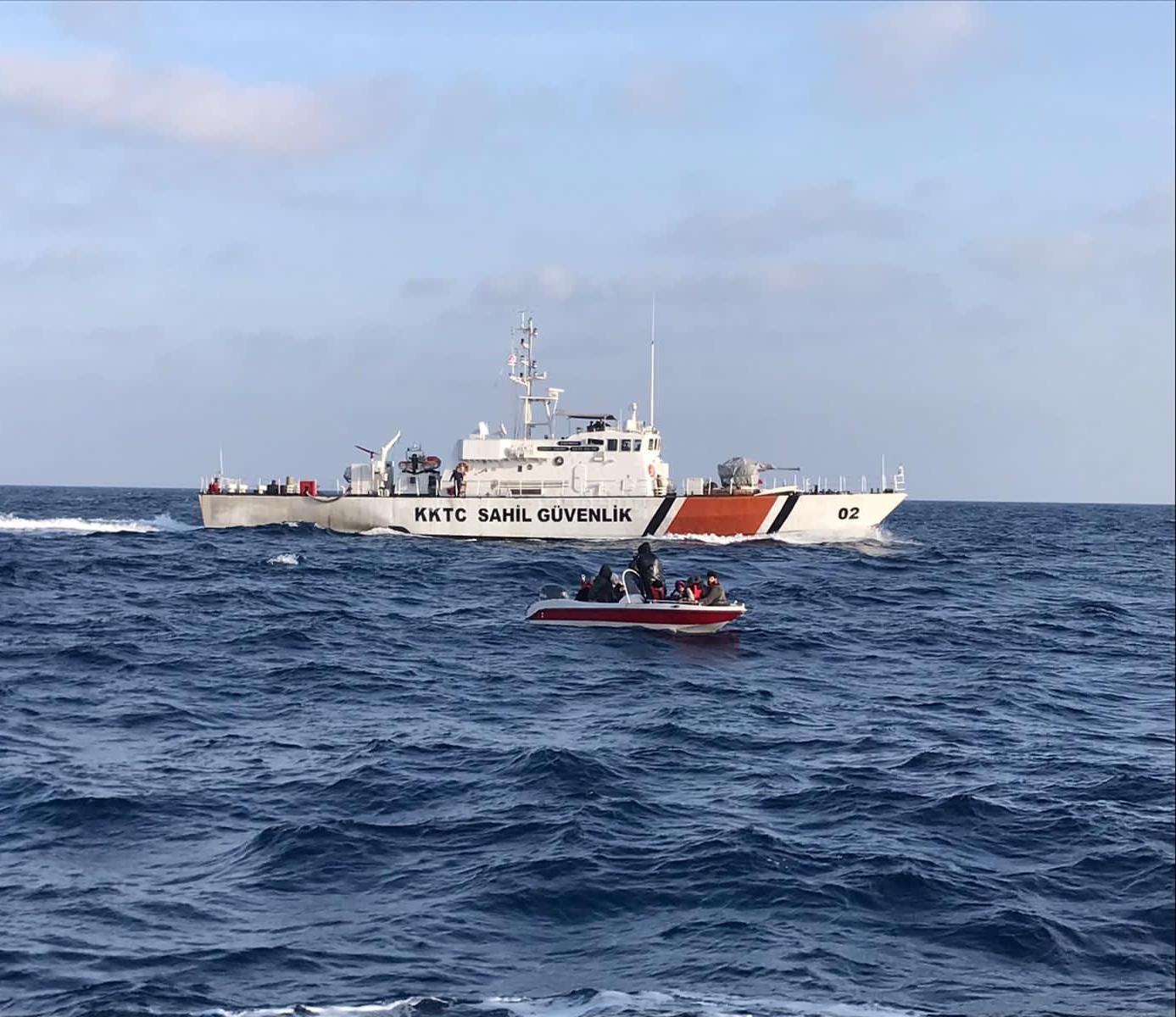 Turkish Republic of Northern Cyprus (TRNC) Coast Guard vessel off Güzelyurt, Friday, July 16, 2021. (AA Photo)